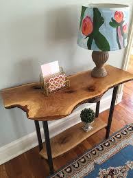 Oak Sofa Table Live Edge Entryway Table Console Table Sofa Table Rustic