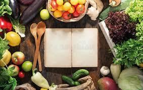 livre cuisine saine autour du livre de cuisine vide placez la nourriture saine fond sain