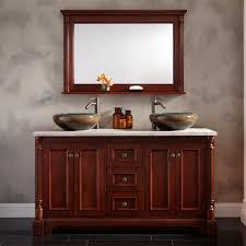 cherry wood bathroom mirror 60 trevett double vessel sink vanity cherry bathroom