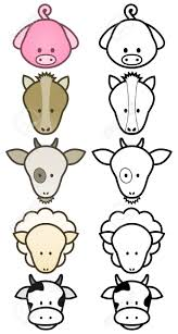 illustration set of cartoon farm animals royalty free cliparts