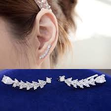 top earing new arrival top quality post cubic zircon flower ear sweep wrap