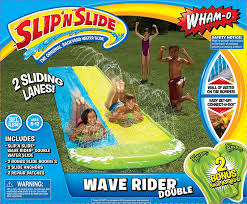amazon com wham o slip n slide wave rider double with 2 slide