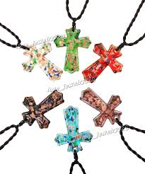 glass cross necklace images Wholesale colorful cross gold dust foil glitter lampwork venetian jpg