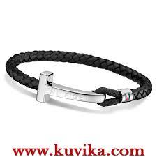 bracelet man images Steel and leather bracelet tommy hilfiger 2700868 best online price jpg