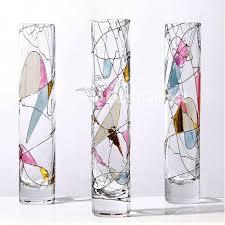 Acrylic Flower Vases Color Painting Cylinder Glass Flower Vase Dinodirect Com