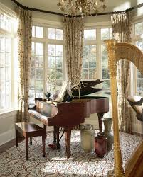 curtain rods for bay windows living room traditional with area rug