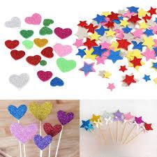 30pcs assorted glitter shapes hearts flowers foam