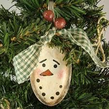 country snowman ornament spoon painted prim ooak