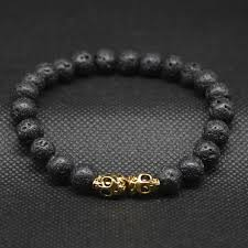 gold skull bracelet men images Antique gold color double twin skull head bead bracelet mens of jpg