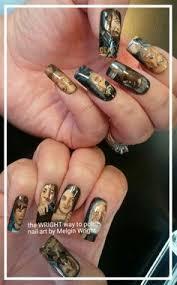 the walking dead nails hand painted nail art with nail polish and