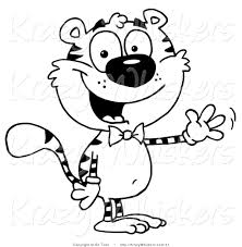 critter clipart of a coloring page of a tiger wearing a bow tie