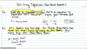 writing equations from word problems youtube