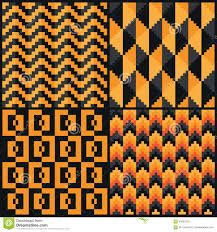 pixel halloween background halloween pattern with black owls and orange background stock