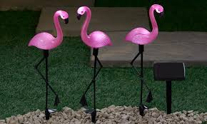 set of three flamingo solar lights from 17 99 in solar telegraph