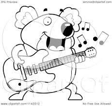 cartoon clipart of a black and white chubby koala guitarist