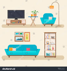 Holiday Living Room Clipart Living Room Furniture Cozy Interior Sofa Stock Vector 413982946
