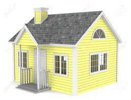 a simple house yellow pastel color stock photo picture and