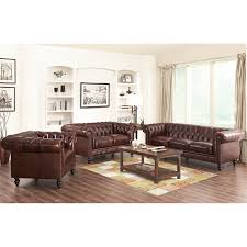 Sofa Set Abbyson Grand Chesterfield Brown Top Grain Leather Sofa Set