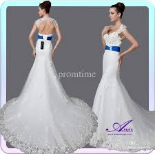 white wedding dress with royal blue sash as2083 mermaid cap sleeves open back corset chapel