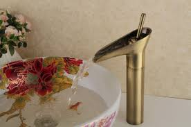 antique style ti pvd finish waterfall brass bathroom sink faucet