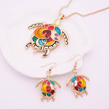 pendant necklace earring images Beautiful enamel sea turtle pendant necklace earring set st jpg