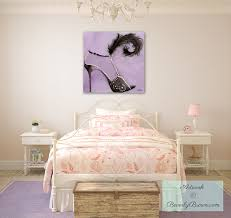 trendy teen or tween girls bedroom with canvas fashion art