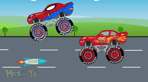 monster truck videos please spiderman truck and lightning mcqueen monster truck in toy factory