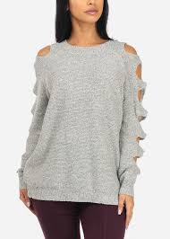 knitted sweater size stylish grey cut out sleeve knitted sweater top