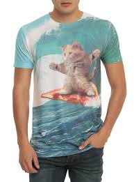 pizza surfing cat t shirt topic