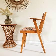 siege fauteuil bridge vintage ées 50 en bois et tissus