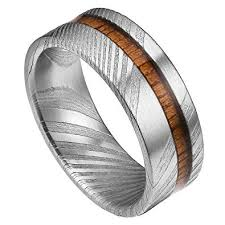 real wedding rings images Doux mens 8mm rare real damascus steel real wood inlay wedding jpg