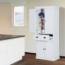 homcom kitchen pantry cupboard wooden storage cabinet organizer shelf white kitchen storage cabinet white colour adjustable shelves
