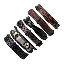 leather bracelet with skull charm images 6pcs set leather bracelet men multilayer punk skull star charm jpg