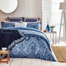 indigo blue paisley pattern bedding echo jakarta at bedeck 1951