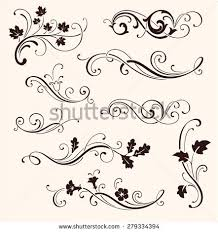 set decorative flourish elements calligraphic ornaments stock