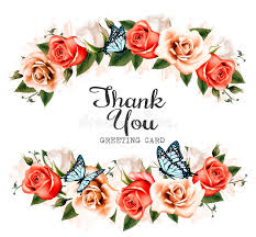 beautiful thank you greeting card with roses and butterflies