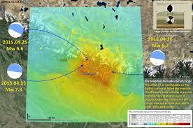 Kathmandu Nepal Map by Surface Displacement And Ground Motion Maps Nepal Jay Patton Online