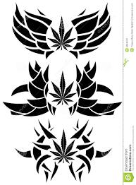 set of marijuana leaf tattoos isolated stock illustration image