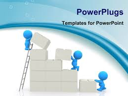 powerpoint template team work depiction with team players