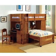 bedroom queen size bunk bed with desk underneath tv above