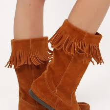 womens fringe boots size 9 best minnetonka moccasins boots products on wanelo