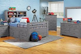 soft blue themes and classic wood grey beds in kids bedroom design