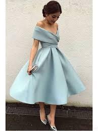 cocktail dress shoulder knee length satin party prom dresses simi bridal