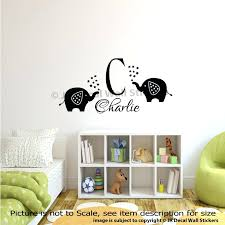 Monogram Wall Decals For Nursery Wall Initials Decals Personalised Name Initial Monogram Elephant