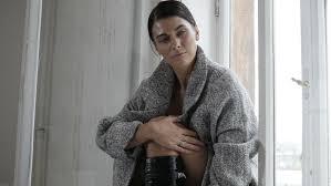 bare breast beautiful woman wearing coat bare breast stock footage