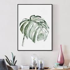 tableau deco chambre enfant décoration poster toile feuille de plante aquarelle trendisy