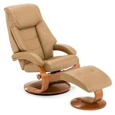 mandel s sand top grain leather swivel recliner with ottoman