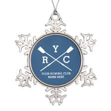 personalized crew rowing logo oars team name year snowflake pewter