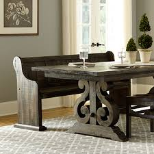 bellamy wood rectangular dining table in deep weathered pine