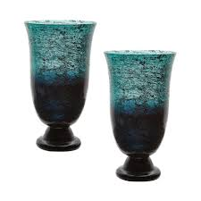 12 in assorted hand blown glass decorative vases in teal and
